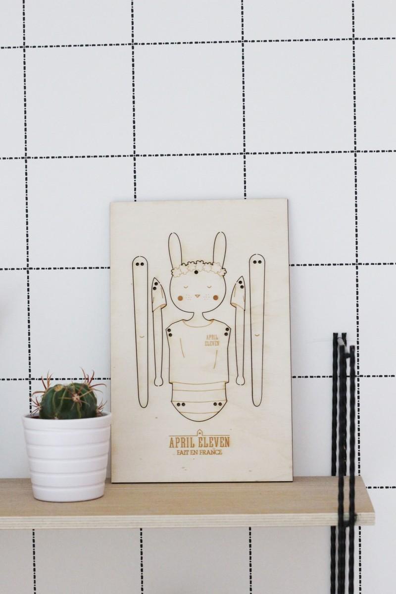 Pantin en bois lapin en bois