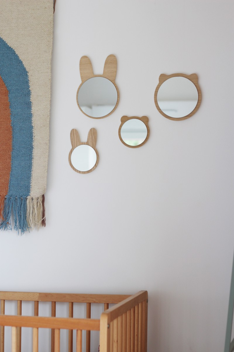Wooden rabbit miror