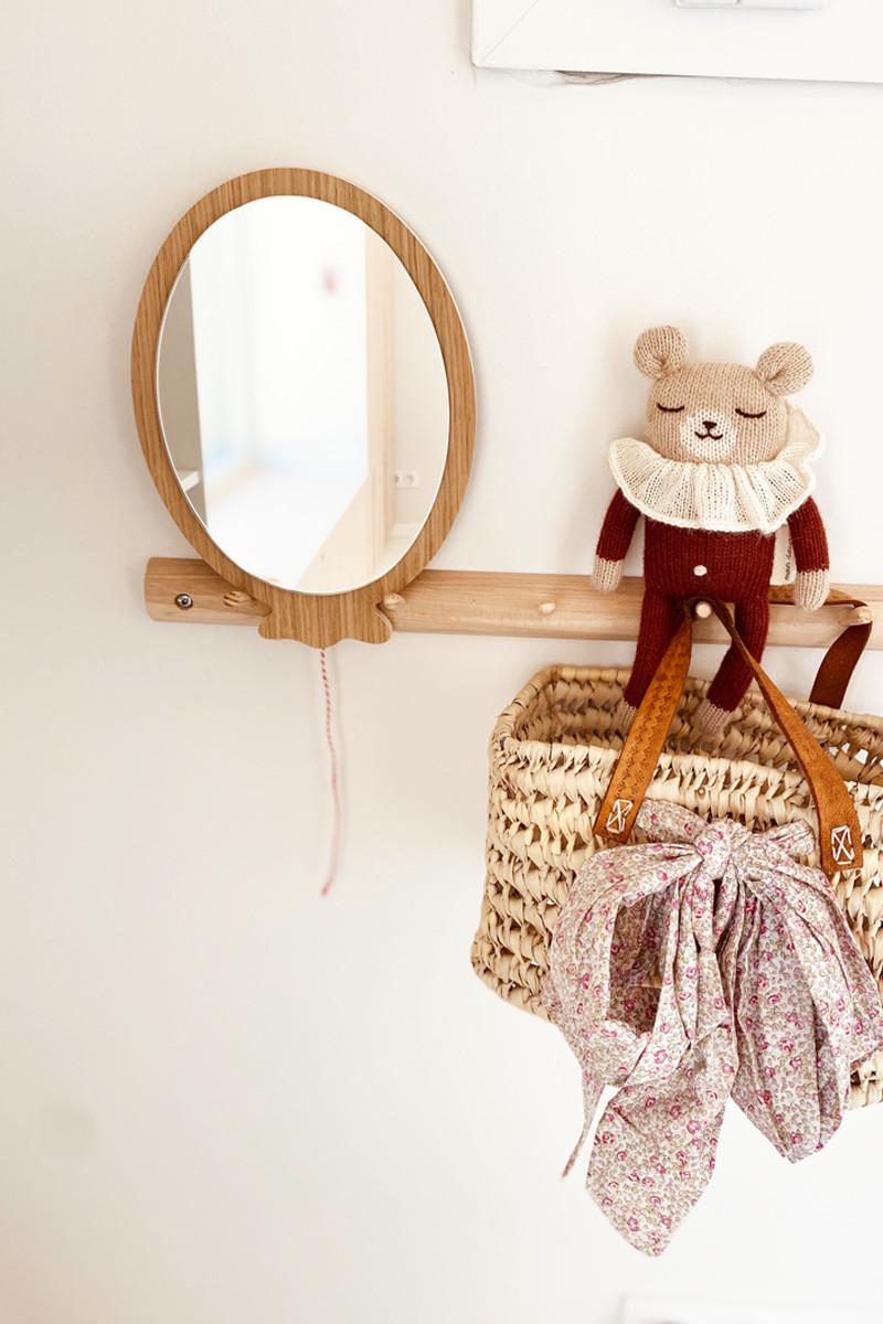 Miroir ballon en bois