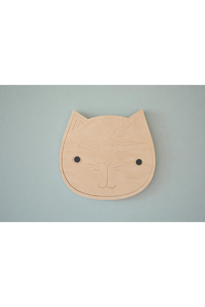d coration murale chat en bois pour chambre d 39 enfants. Black Bedroom Furniture Sets. Home Design Ideas