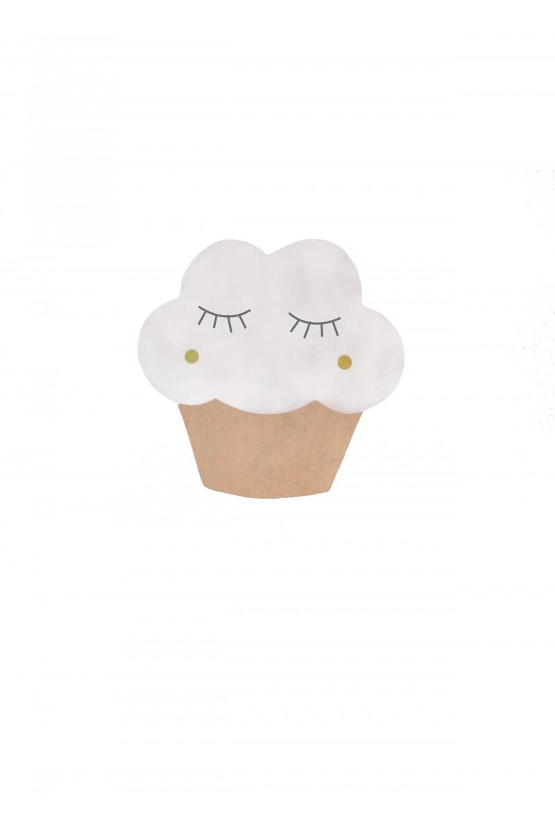 Boite à musique cupcake en bois blanc