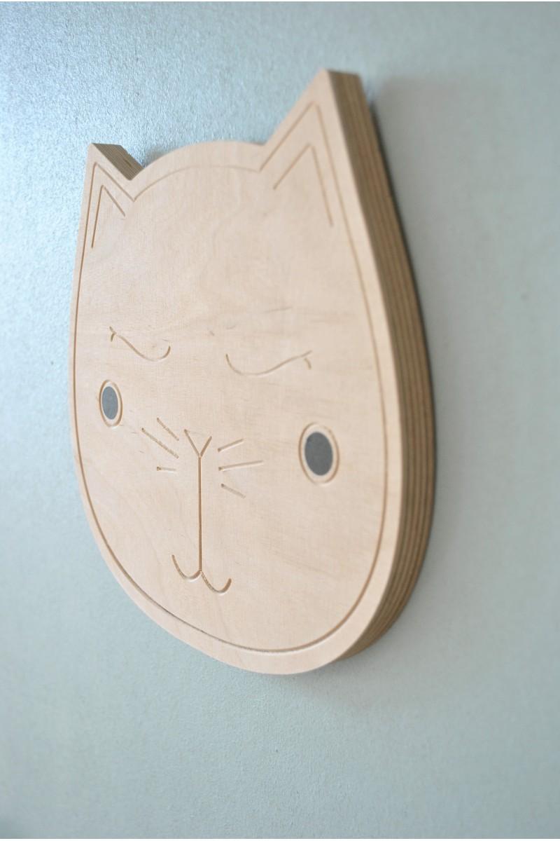 Décoration murale chat en bois