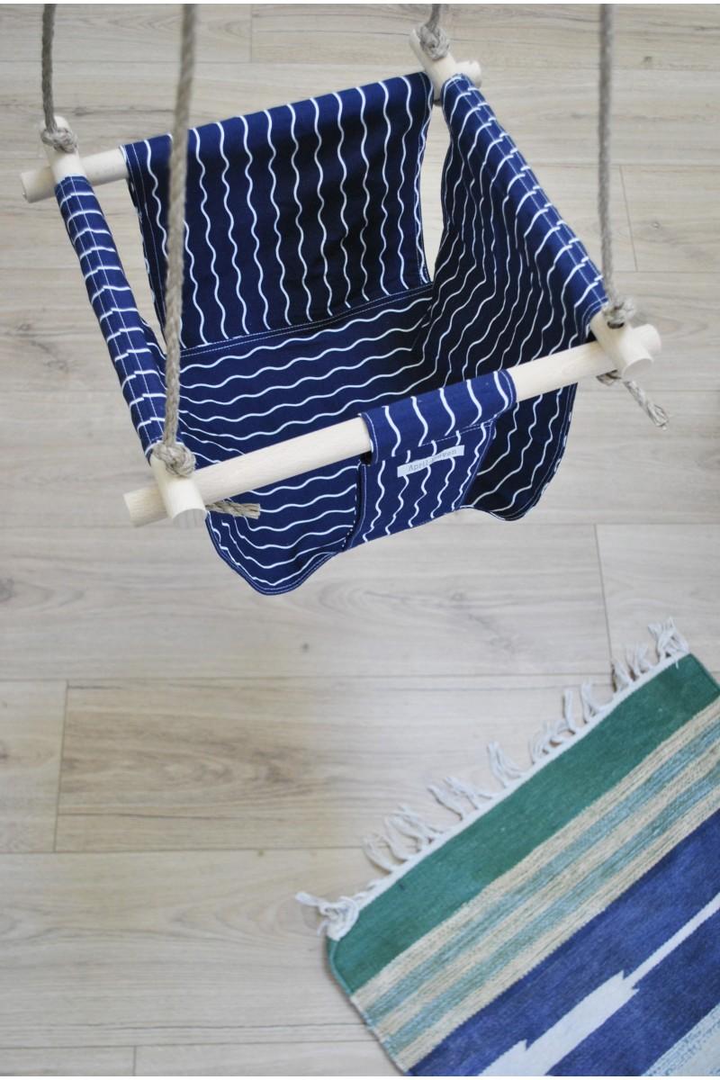 Balan oire en tissu bleu marine pour chambre d 39 enfants for Balancoire pour chambre