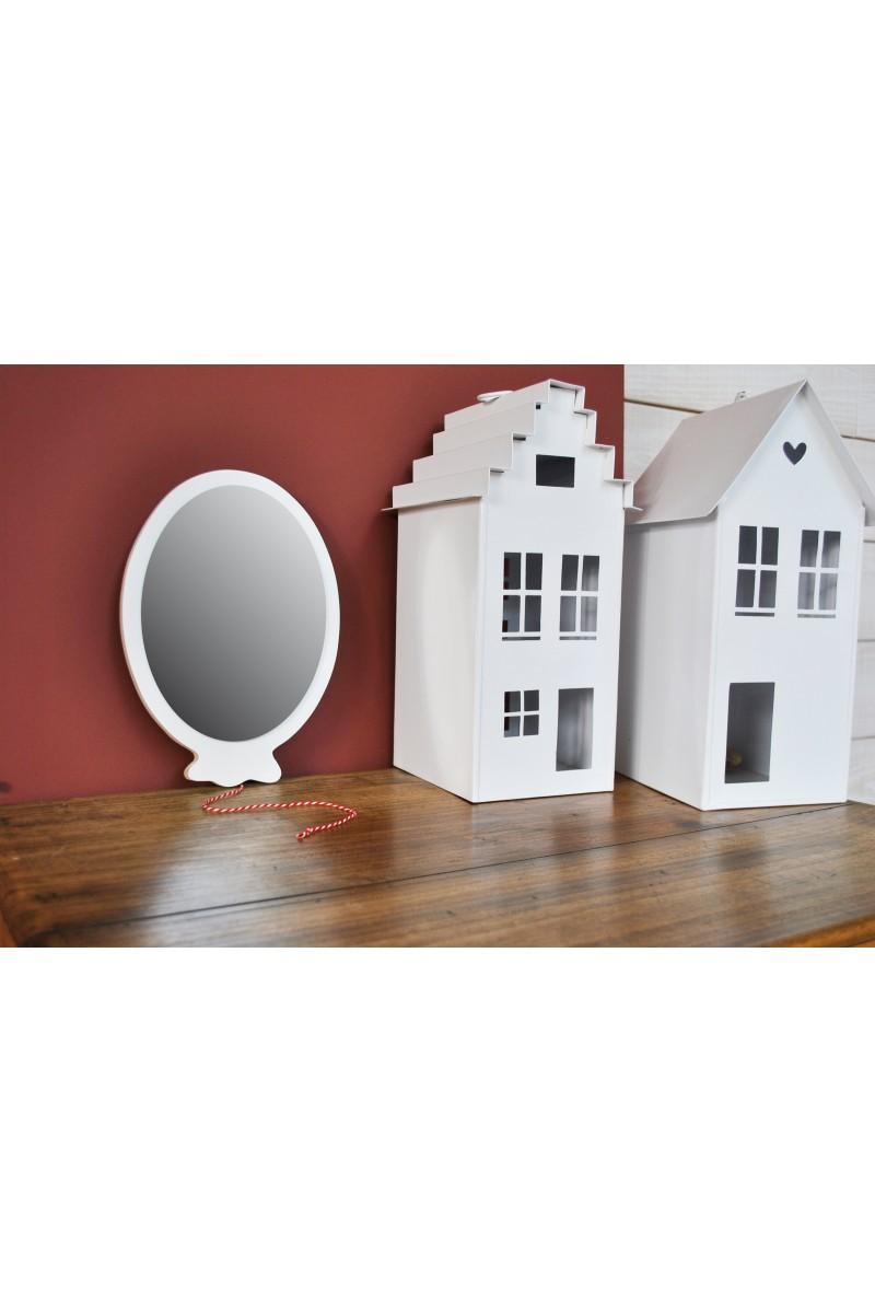 Miroir ballon blanc en bois pour chambre d 39 enfant for Miroir blanc bois