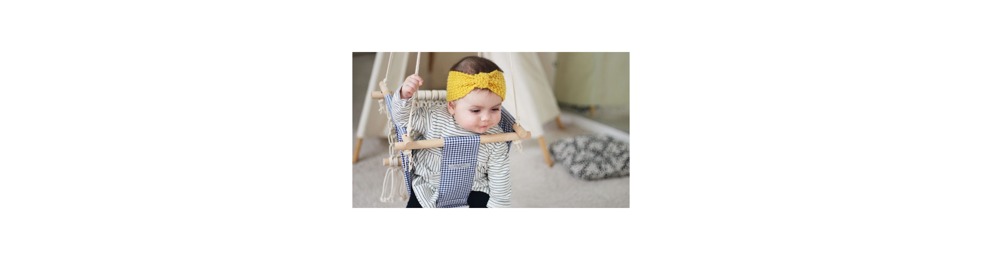 Navy and macrame gingham swing